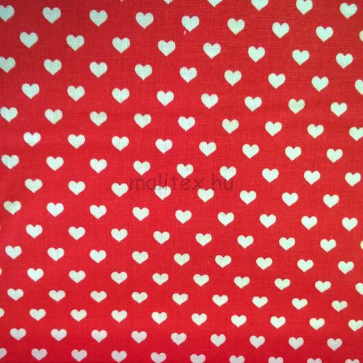 Pamutvászon – Piros alapon fehér szívecske mintával