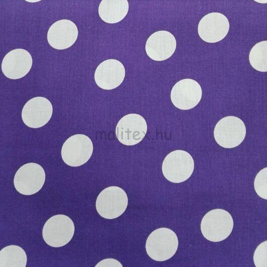 Pamutvászon – Lila, fehér nagy pöttyös mintával