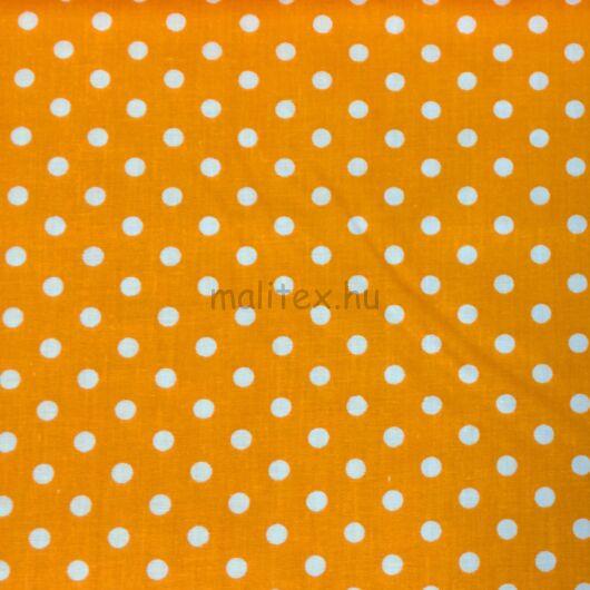 Pamutvászon – Narancssárga, fehér 6mm pöttyös mintával
