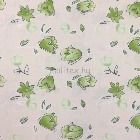 Pamutvászon – Tulipán mintával, zöld színben