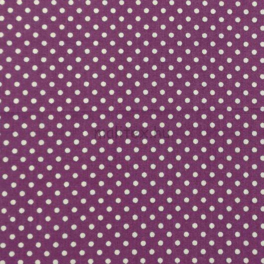 Pamutvászon – Sötétlila, fehér 2mm pöttyös mintával