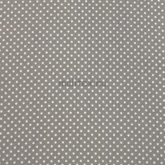 Pamutvászon – Szürke, fehér 2mm pöttyös mintával