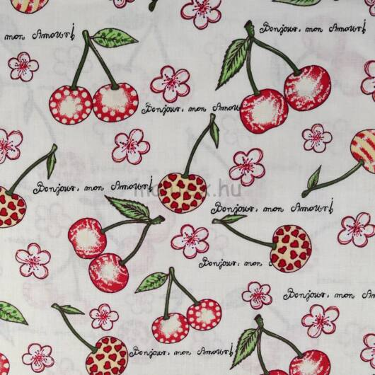 Pamutvászon – Cseresznye és kézírás mintával