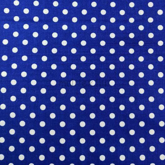 Pamutvászon – Tengerészkék, fehér 6mm pöttyös mintával