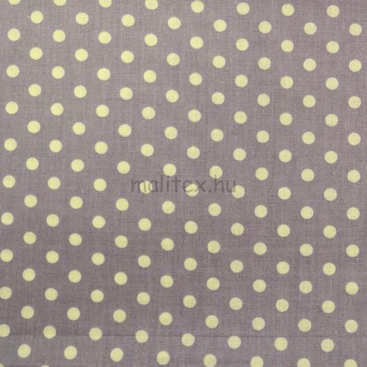 Pamutvászon – Levendula lila, fehér 6mm pöttyös mintával