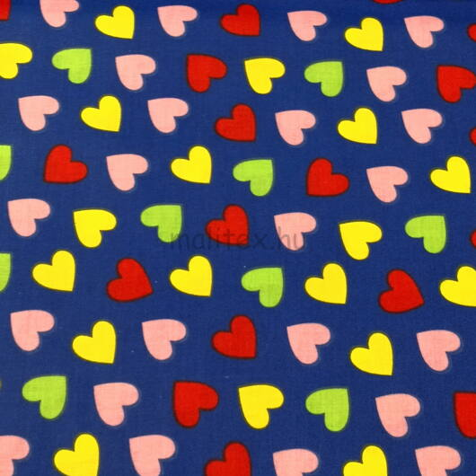Pamutvászon – Színes szívecske mintával, kék alapon