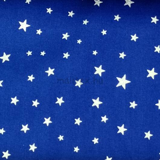 Pamutvászon – Kék alapon ezüst színű csillag mintával
