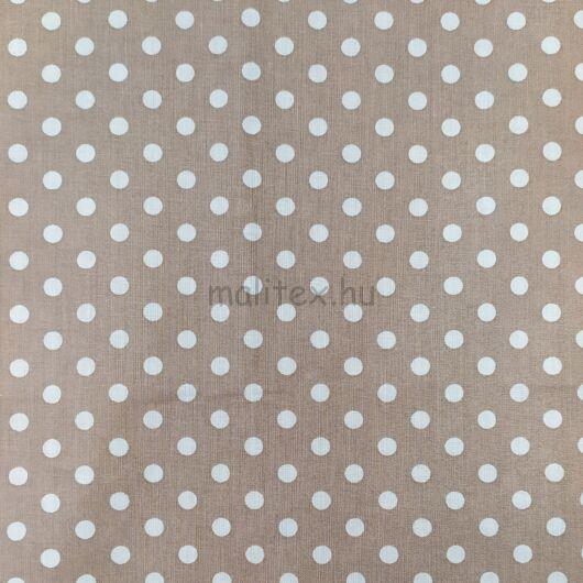 Pamutvászon – Bézs, fehér 6mm pöttyös mintával