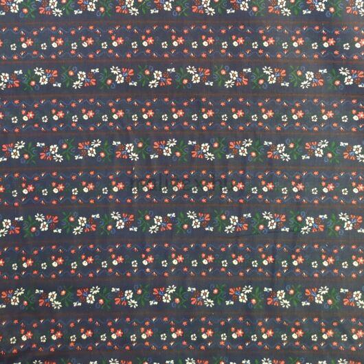 Pamutvászon – Csík panelekben virág mintával, kék alapon
