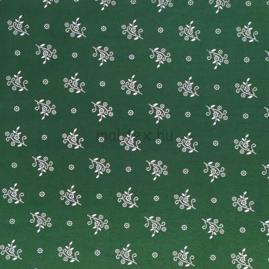 Pamutvászon – Kékfestő jellegű, kis virág és kör pötty mintával, zöld színben