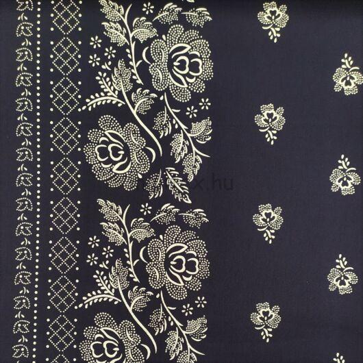 Pamutvászon – Kékfestő bordűrös mintával, sötétkék színben