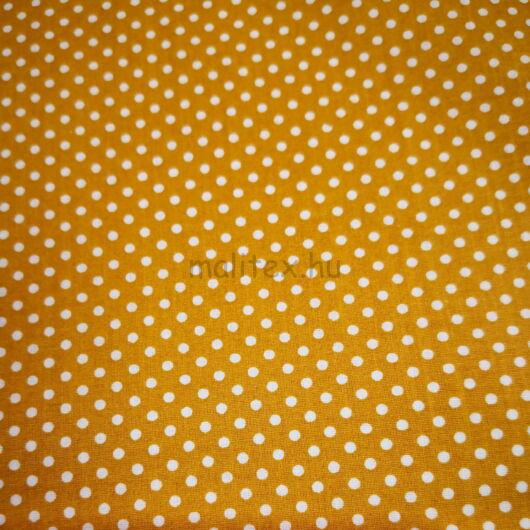 Pamutvászon – Okkersárga, fehér 2mm pöttyös mintával
