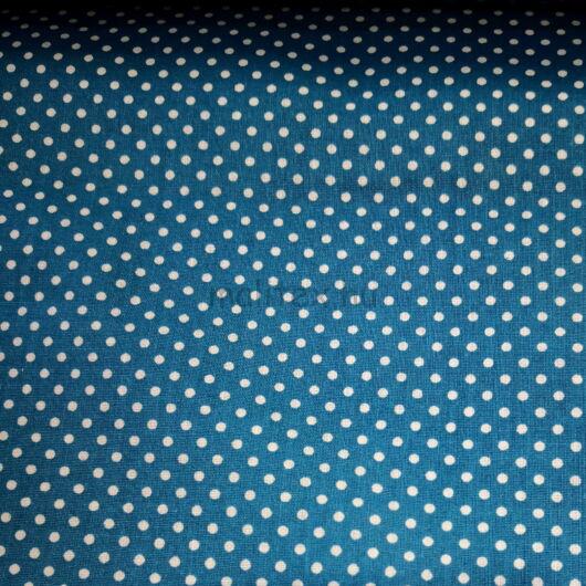 Pamutvászon – Búzavirág kék, fehér 2mm pöttyös mintával