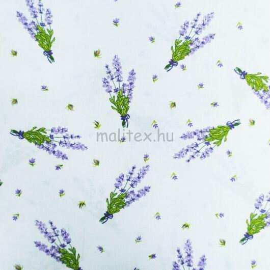 Pamutvászon – Fehér alapon halvány lila levendulacsokor mintával