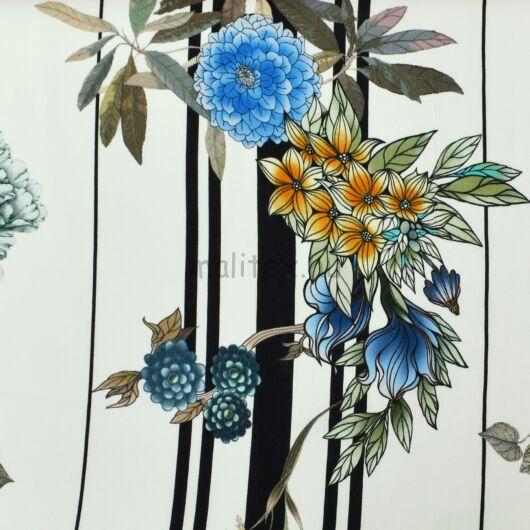 Viszkóz selyem – Csíkos alapon színes virágos mintával