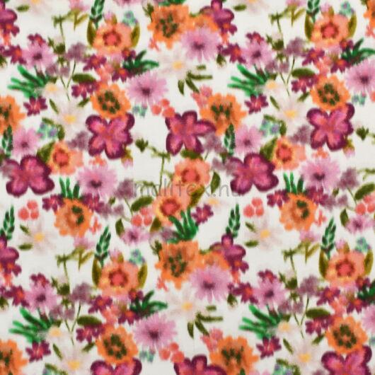 Viszkóz selyem – Elmosódott virág mintával