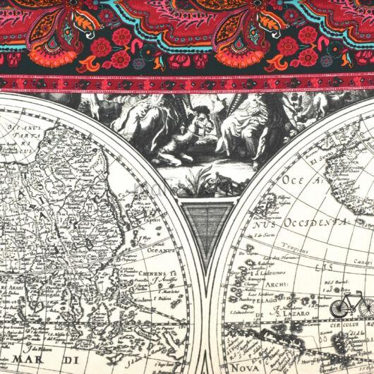 Viszkóz selyem – Földgömbös mintával, PANELES MINTA