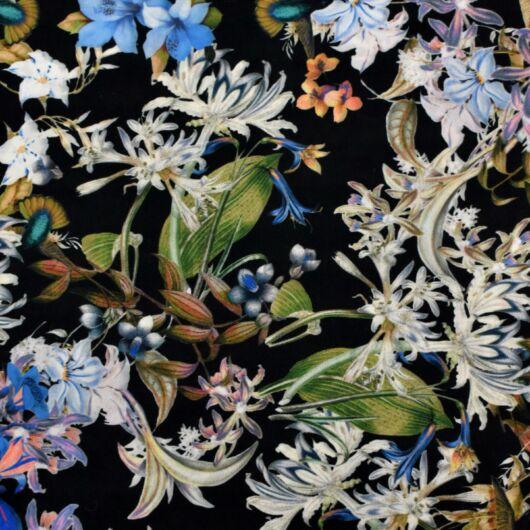 Selyem – Színes virág és fehér liliom mintával