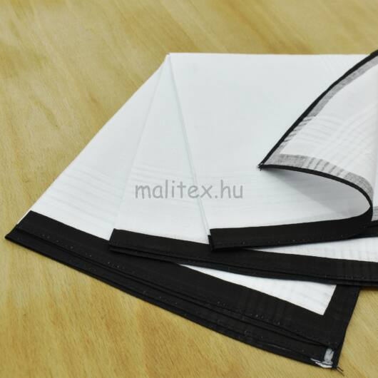 Textil zsebkendő – Fekete szegélyes, 3db-os, nagy méretű