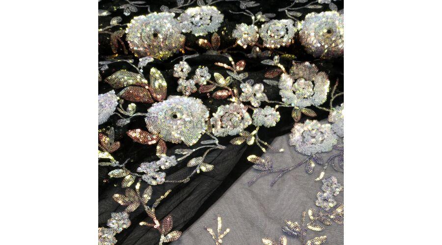 Tüll csipke – Fekete alapon színátmenetes flitteres mintával · Tüll  méteráru Katt rá a felnagyításhoz dce2d8c3f8