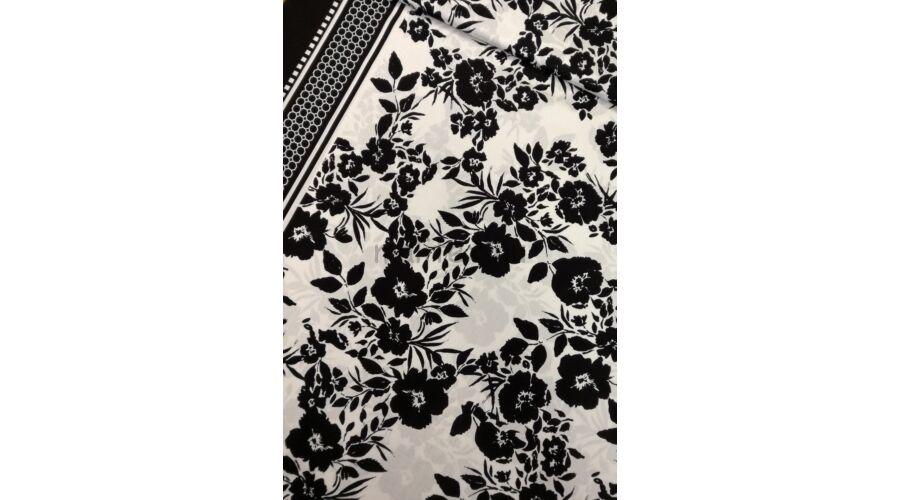 Viszkóz selyem – Fekete-fehér virág mintával 8cc5285a9a