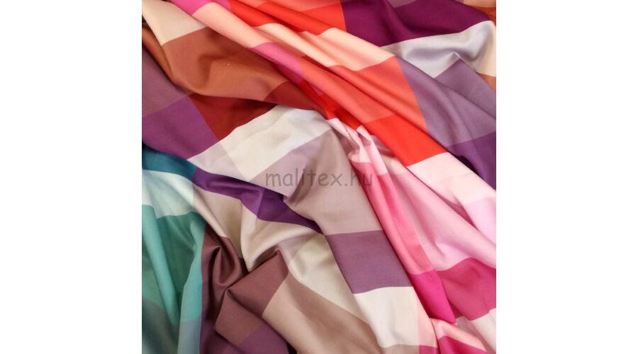 Pamut szatén – Nagyméretű színes kockás mintával 0cbfce5266