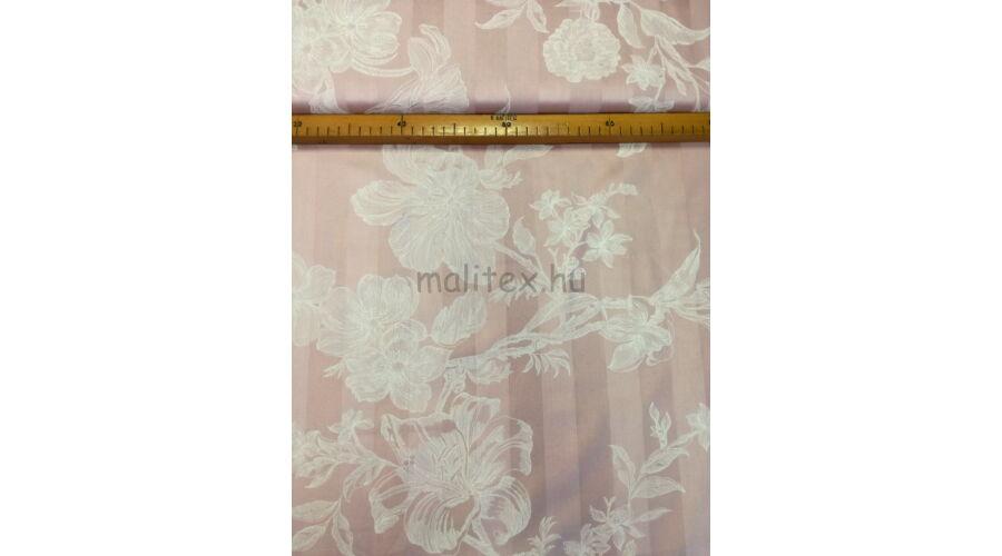 Pamut szatén – Rózsaszín alapon fehér virág mintával 54a0d11c83