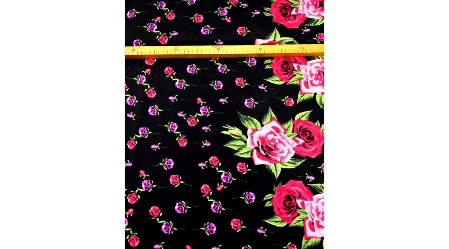 Viszkóz selyem – Bordűrös rózsa mintával ba7557be49