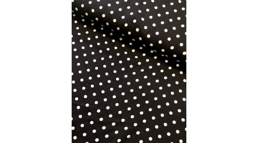 Viszkóz selyem – Fekete alapon fehér pöttyös mintával 0ee763df39